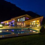 Chalet Couttet External Shot at night with swimming pool